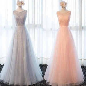 Elegant Pink Round Neck Sleeveless Empire Waist Tulle Bridesmaid Dresses Evening Dresses - NICEOO