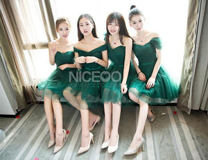 Cute Green Four Styles A Line Empire Waist Short Tulle Bridesmaid Dresses Prom Dresses - NICEOO