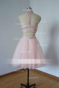 Pink Two Pieces Halter Open Back Homecoming Dresses Tulle Cocktail Dresses With Rhinestones - NICEOO