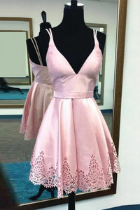 Pink Spaghetti Strap V Neck Open Back Homecoming Dresses Cheap Cocktail Dresses