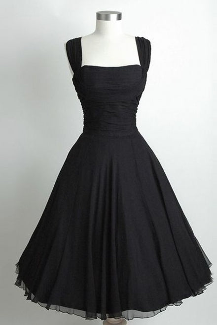 Simple Black Strap Square Neck Knee Length Homecoming Dresses Niceoo