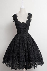 Black Strap Square Neck Knee Length Homecoming Dresses Lace Cocktail Dresses - NICEOO