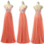 Sexy Peach Spaghetti Strap Sweetheart Empire Waist Chiffon Evening Dresses Prom Dresses