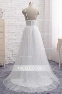 White Spaghetti Strap V Neck Backless Wedding Dresses Affordable Bride Gown