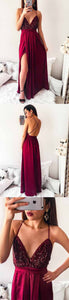 Burgund Sequins Backless Cross Back Long Prom Dresses V-Neck Evening Dresses