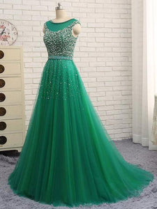 Beading Long Prom Dresses Green Tulle A-Line Evening Dresses