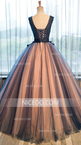 A Line V Neck Strap Tulle Prom Dresses Best Ball Gowns With Appliques - NICEOO