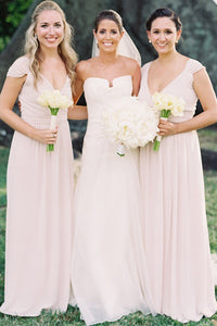 Simple Pale Pink V Neck Cap Sleeves Chiffon Bridesmaid Dresses