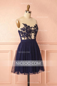 Navy Blue Simple Round Neck Sleeveless Short Homecoming Dresses Tulle Cocktail Dresses - NICEOO