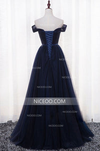 Navy Blue Off Shoulder Prom Dreses,A Line Sweetheart Military Ball Dresses - NICEOO