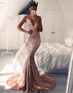 V-Neck Mermaid Spaghetti Straps Evening Dresses Sequins Long Prom Dresses