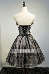 Black A Line Sweetheart Knee Length Homecoming Dresses Prom Dresses With Appliques