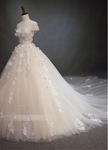 A Line Off Shoulder Square Neck Tulle Wedding Dresses Bride Gown With Appliques - NICEOO