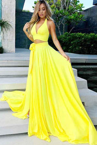Yellow Two Pieces Halter V Neck Long Prom Dresses Evening Dresses