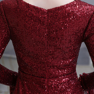 Burgundy/Silver Long Sleeve Mermaid Prom Dresses Sequin Evening Dress