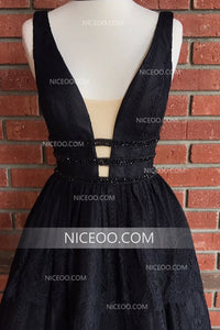 Sexy Black Deep V Neck Homecoming Dresses, A Line Short Cocktail Dresses - NICEOO