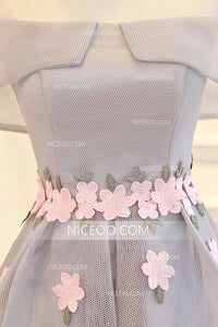 Gray High Low Prom Dresses With Appliques,Off Shoulder Homecoming Dresses