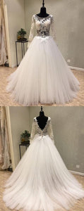 Charming Long Sleeve bridal dresses Tulle A-Line wedding dresses