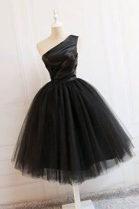 Black One Shoulder Tulle Tea Length Homecoming Dresses Prom Dresses - NICEOO
