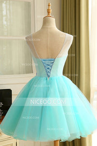 Blue A Line Round Neck Backless Tulle Homecoming Dresses With Appliques - NICEOO
