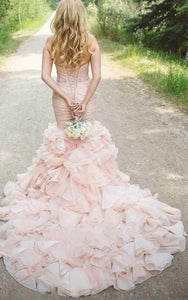 Pink Sweetheart Mermaid Long Wedding Dresses Cathedral Train With Organza