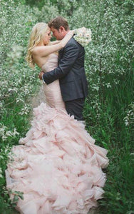 Pink Sweetheart Mermaid Long Wedding Dresses Cathedral Train With Organza - NICEOO