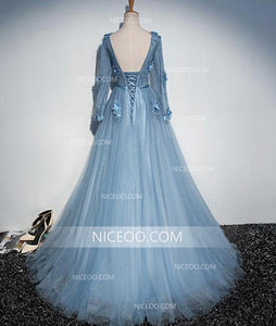 Elegant Blue V Neck Long Sleeves Tulle Prom Dresses Best Military Ball Dresses With Appliques - NICEOO