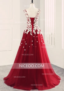 Red Round Neck Sleeveless Prom Dresses, A Line Tulle Military Ball Dresses With Appliques - NICEOO