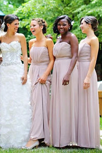 Elegant Strapless A Line Long Chiffon Bridesmaid Dresses