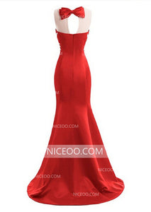 Round Neck Sleeveless Mermaid Long Prom Dresses Evening Dresses With Bow - NICEOO