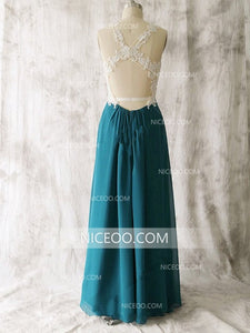 A Line Round Neck Sleeveless Open Back Chiffon Prom Dress Evening Dress - NICEOO