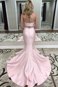 Pink Halter Two Pieces Backless Mermaid Evening Dresses Prom Dresses With Beading - NICEOO