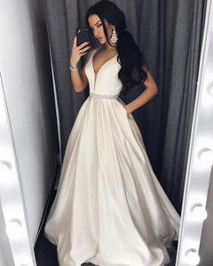 White A Line Deep V Neck Sleeveless Floor Length Prom Dresses Ball Gowns