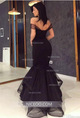 Sexy Black Off Shoulder Deep V Neck Mermaid Prom Dresses Evening Dresses - NICEOO