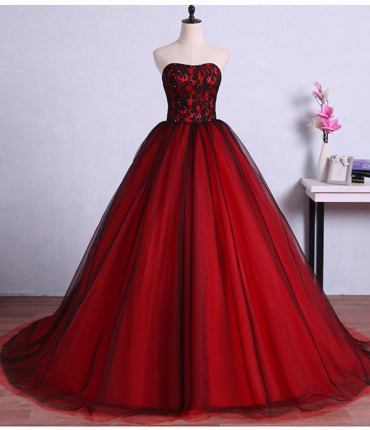 Red A Line Strapless Long Tulle Wedding Dresses Best Ball Gown