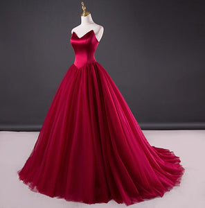 Burgundy A Line Strapless Tulle Wedding Dresses Best Ball Gowns - NICEOO