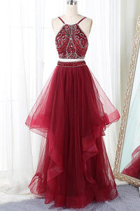 Burgundy Two Pieces Spaghetti Strap Long Prom Dresses Homecoming Dresses With Rhinestones - NICEOO