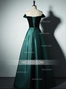 A Line Off Shoulder Long Satin Prom Dresses Best Military Ball Dresses With Bow - NICEOO
