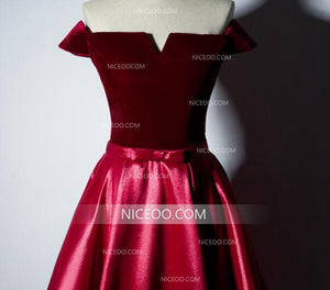 Burgundy A Line Off Shoulder Satin Prom Dresses Military Ball Dresses With Bow - NICEOO