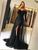 Black Off Shoulder Long Sleeves Side Split Prom Dresses Lace Evening Dresses - NICEOO