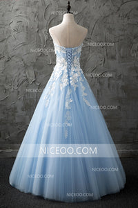 Light Blue Sweetheart Long Prom Dress ,A Line Open Back Tulle Sweet 16  With Appliques