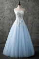 Light Blue Sweetheart Long Prom Dress ,A Line Open Back Tulle Sweet 16  With Appliques - NICEOO