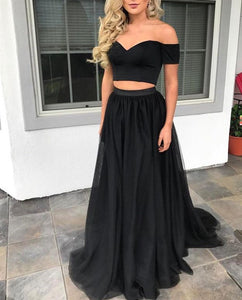 Black Two Pieces Off Shoulder Sweetheart Tulle Prom Dresses Evening Dresses - NICEOO