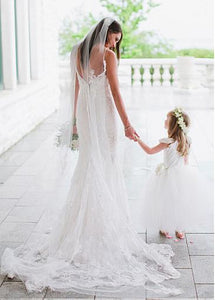 White Sweetheart Open Back Mermaid Wedding Dresses Lace Bride Gown