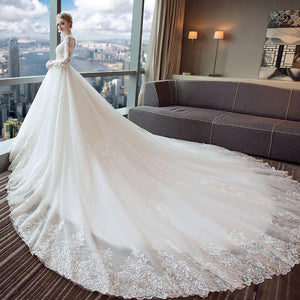 Gorgeous lace appliques wedding dresses tulle long Sleeves bridal gwon