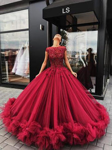 Red A Line Short Sleeves Round Neck Prom Dresses Ball Gowns With Appliques - NICEOO