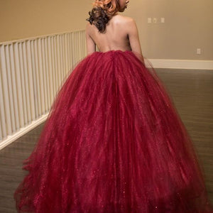 Sexy Burgundy Halter Cut Out Open Back Prom Dresses Ball Gowns