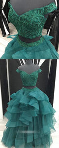 Green Two Pieces Off Shoulder V Neck Prom Dresses Ball Gowns With Organza