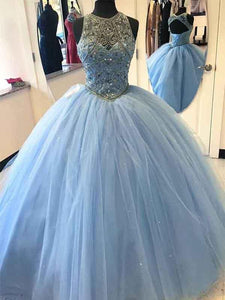 Light Blue A Line Round Neck Sleeveless Tulle Prom Dresses Ball Gowns - NICEOO