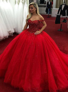 Red A Line Off Shoulder Sweetheart Tulle Prom Dresses Ball Gowns - NICEOO